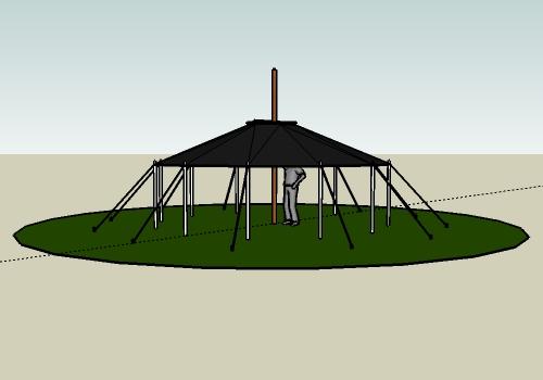 Aufbau Jurte Dach hochziehen